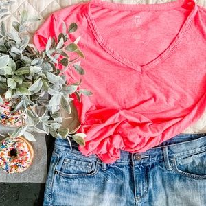 Aerie Real Soft Tee in Heather Neon Pink (Small)